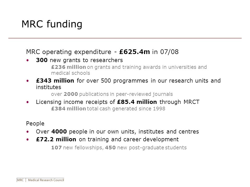 MRC funding MRC operating expenditure - £625.4m in 07/08