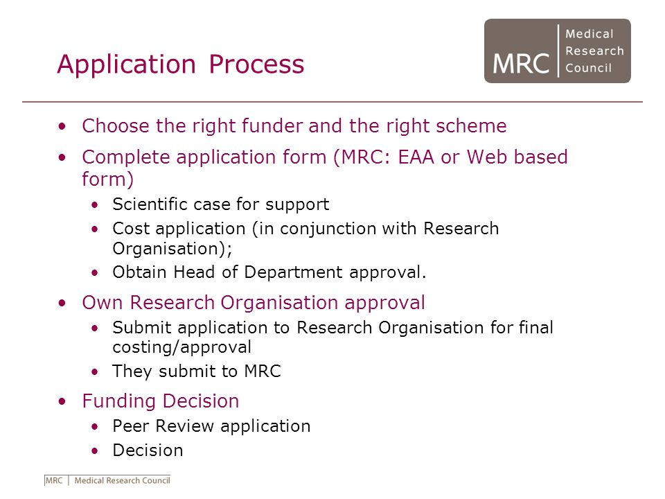 Application Process Choose the right funder and the right scheme