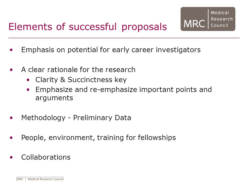 Elements of successful proposals