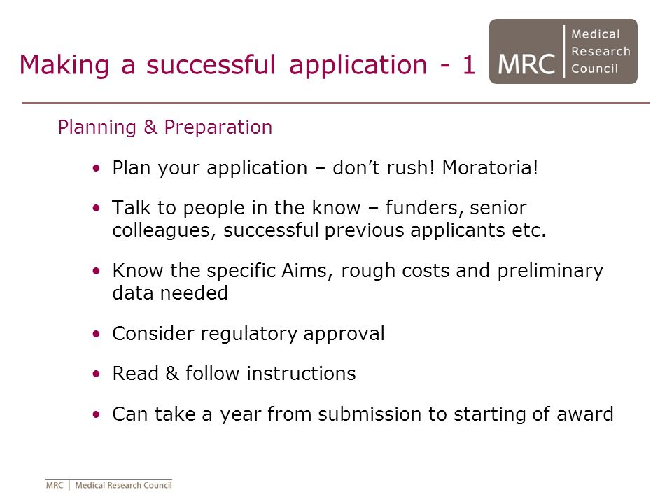 Making a successful application - 1