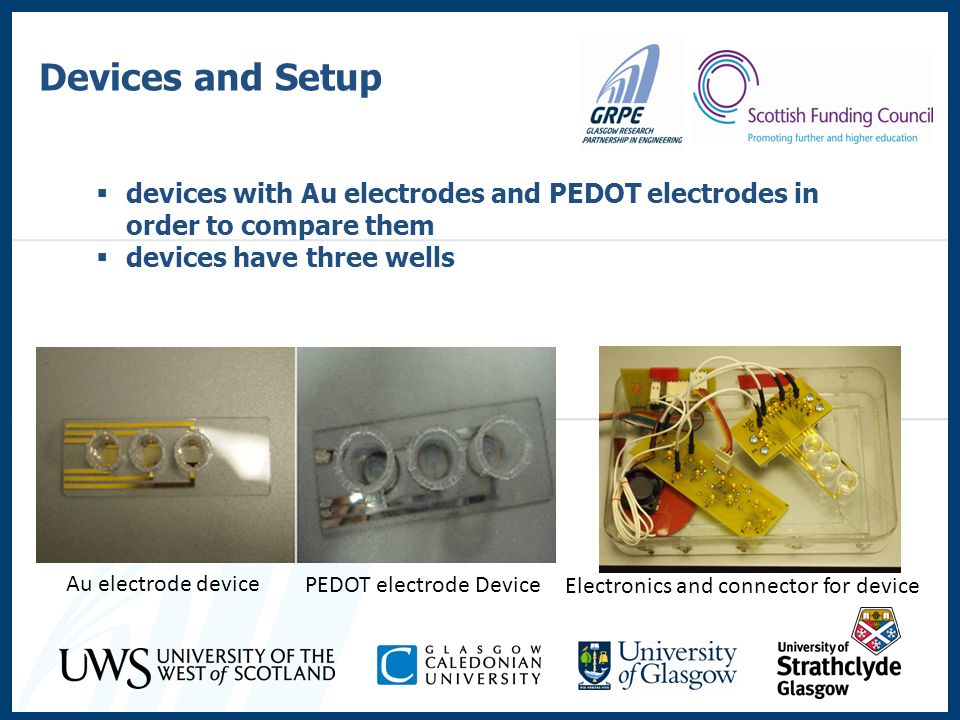 Devices and Setup devices with Au electrodes and PEDOT electrodes in order to compare them. devices have three wells.