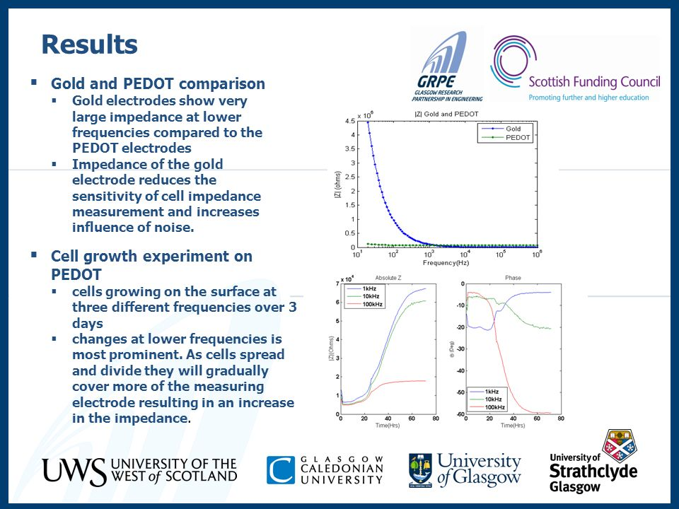 Results Gold and PEDOT comparison Cell growth experiment on PEDOT