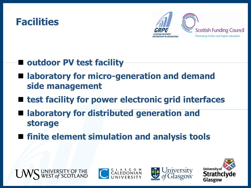 Facilities outdoor PV test facility