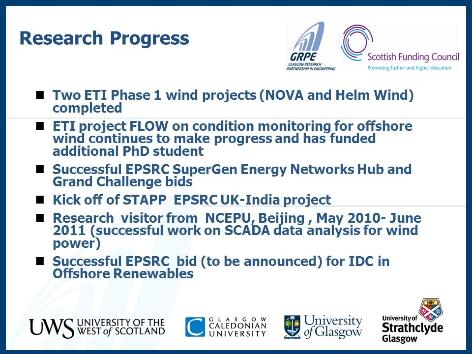 Research Progress Two ETI Phase 1 wind projects (NOVA and Helm Wind) completed.