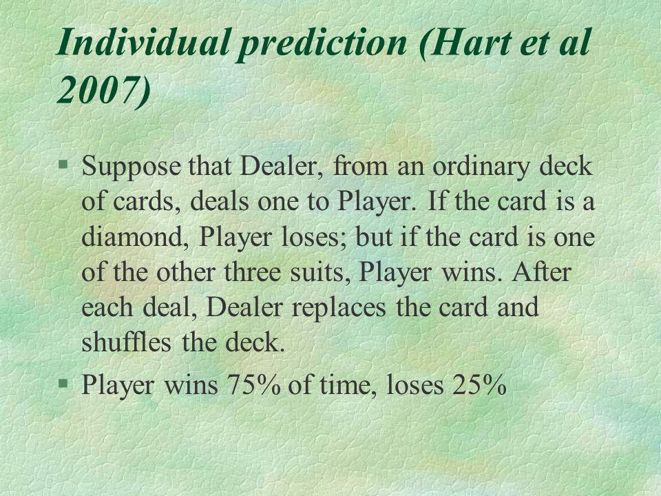 Individual prediction (Hart et al 2007)