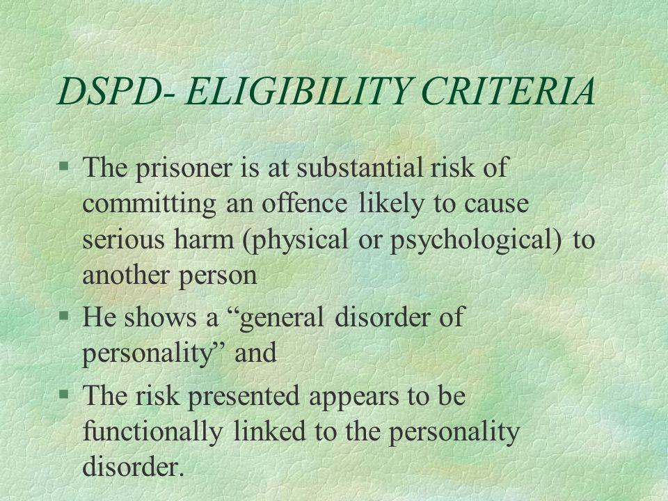 DSPD- ELIGIBILITY CRITERIA