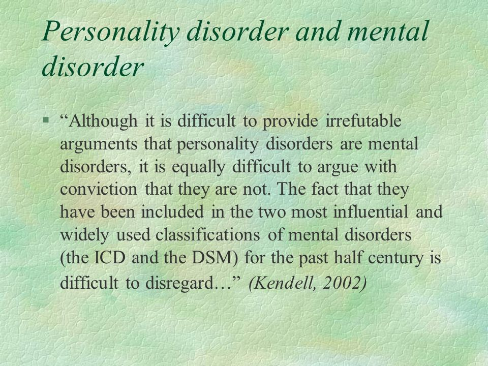 Personality disorder and mental disorder