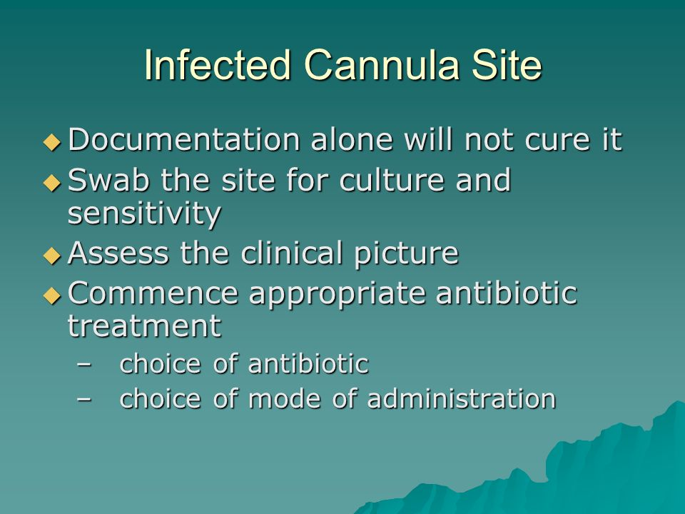 Infected Cannula Site Documentation alone will not cure it