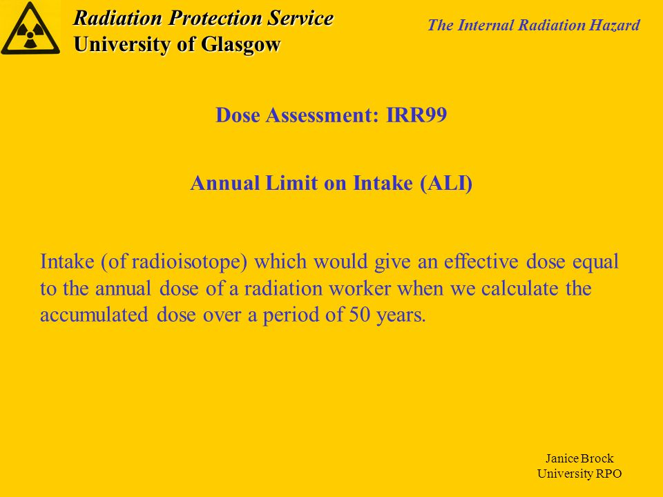 Annual Limit on Intake (ALI)