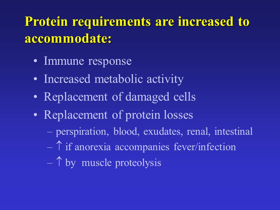 Protein requirements are increased to accommodate: