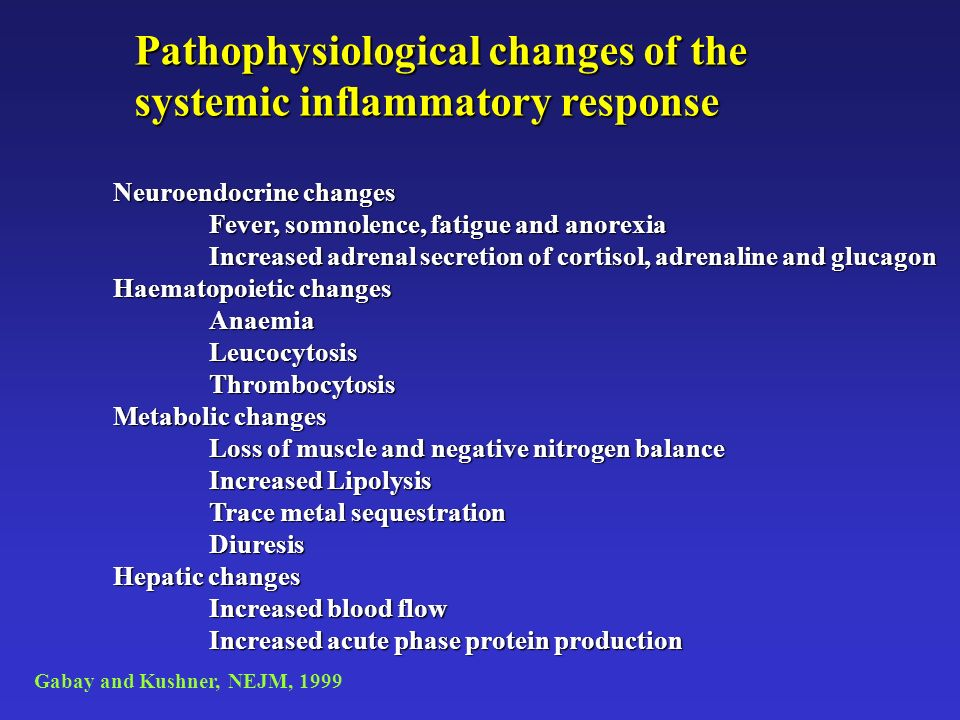 Pathophysiological changes of the systemic inflammatory response