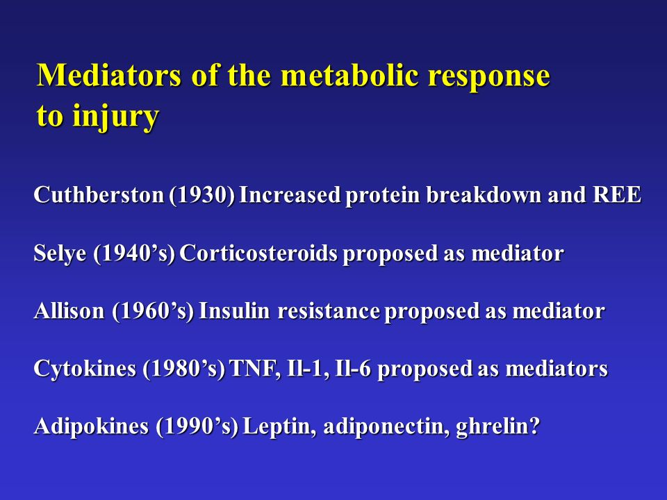 Mediators of the metabolic response to injury