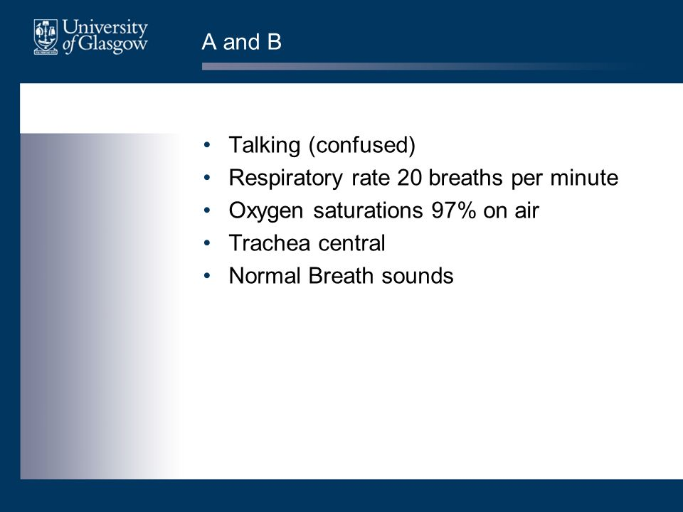 Respiratory rate 20 breaths per minute Oxygen saturations 97% on air