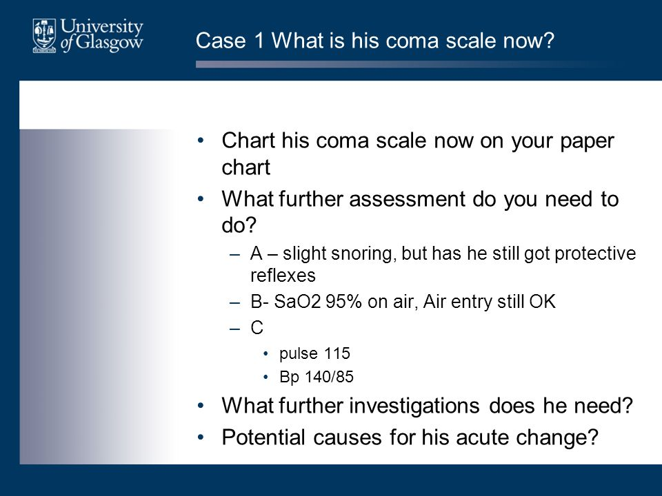 Case 1 What is his coma scale now