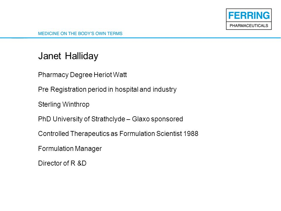 Janet Halliday Pharmacy Degree Heriot Watt