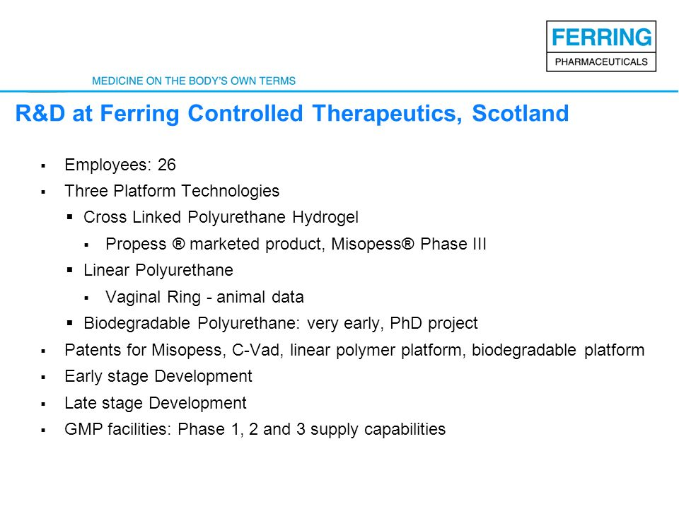 R&D at Ferring Controlled Therapeutics, Scotland