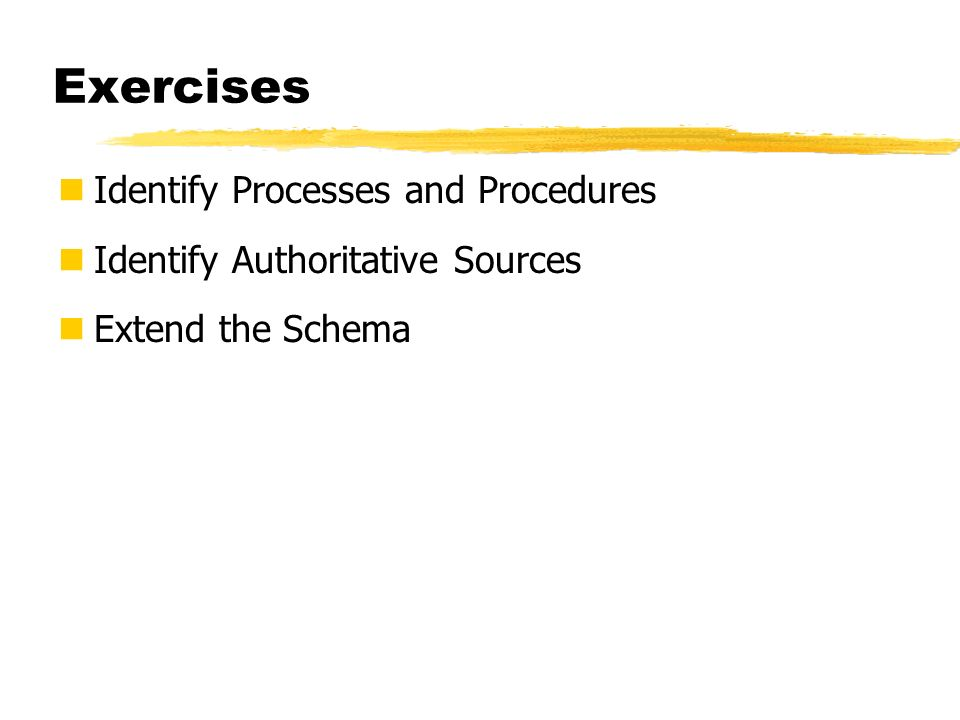Exercises Identify Processes and Procedures