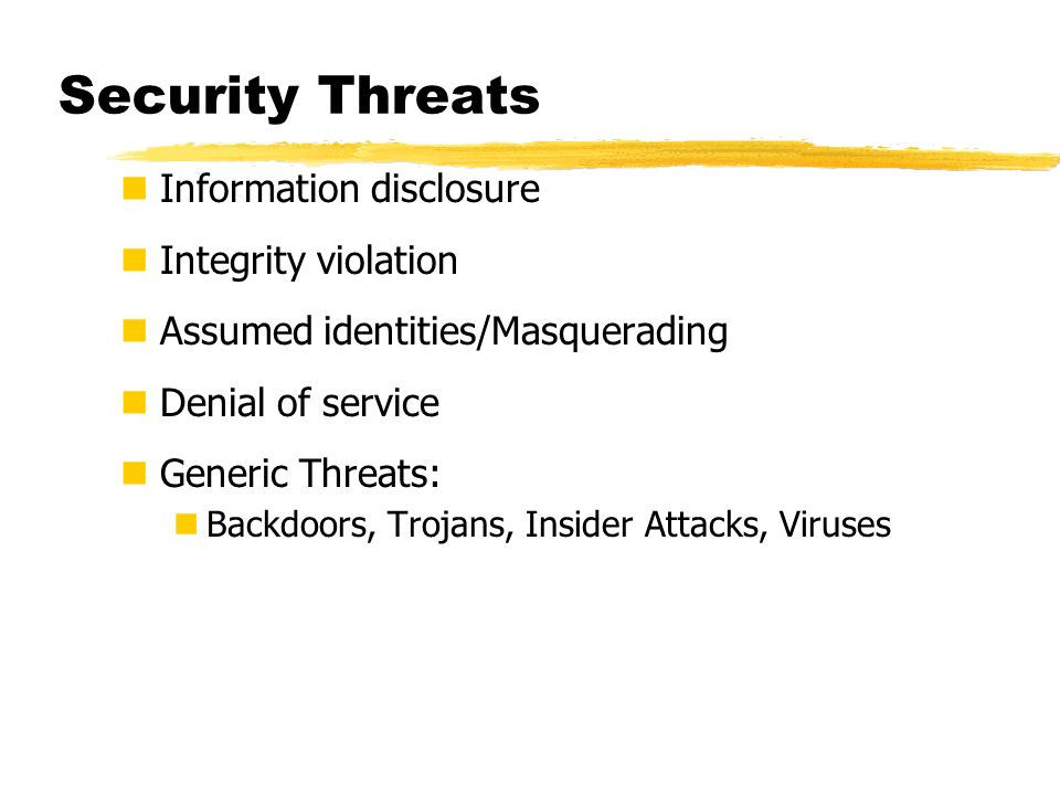 Security Threats Information disclosure Integrity violation