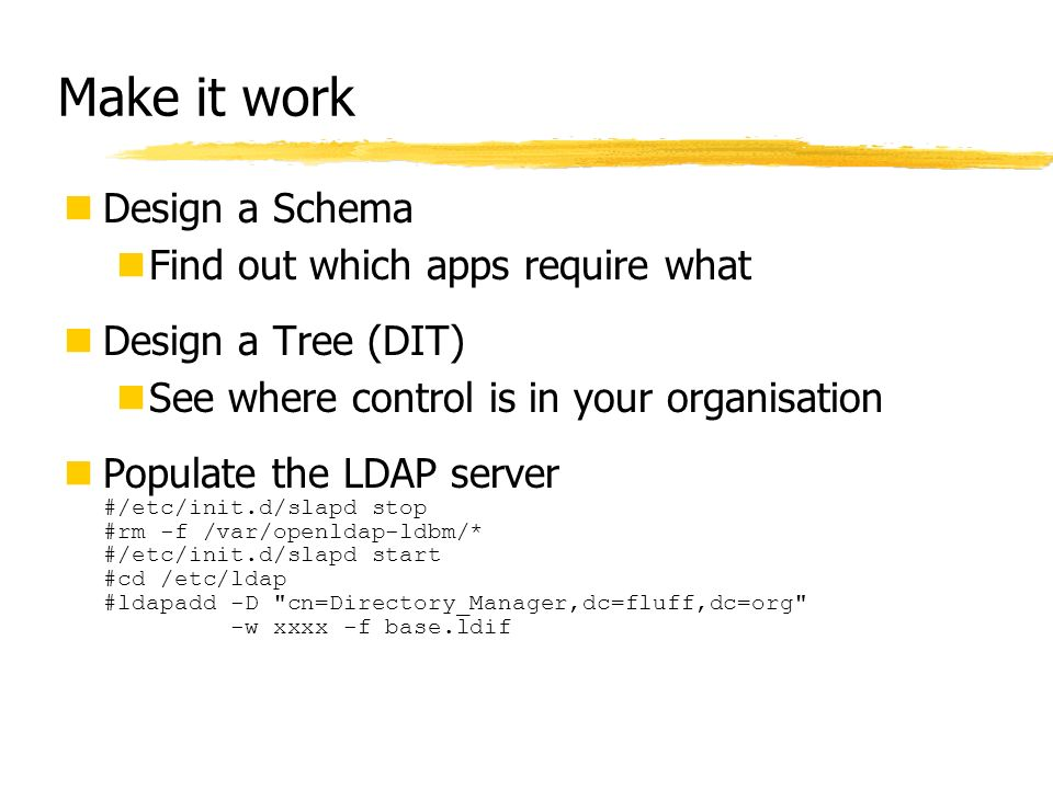 Make it work Design a Schema Find out which apps require what