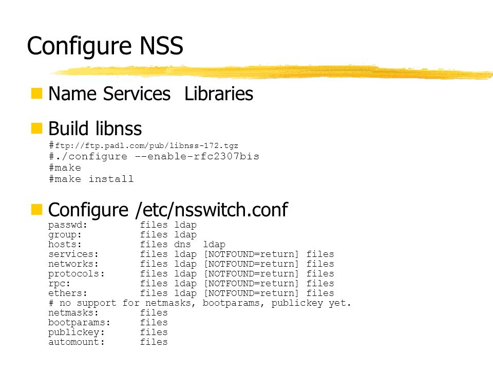 Configure NSS Name Services Libraries