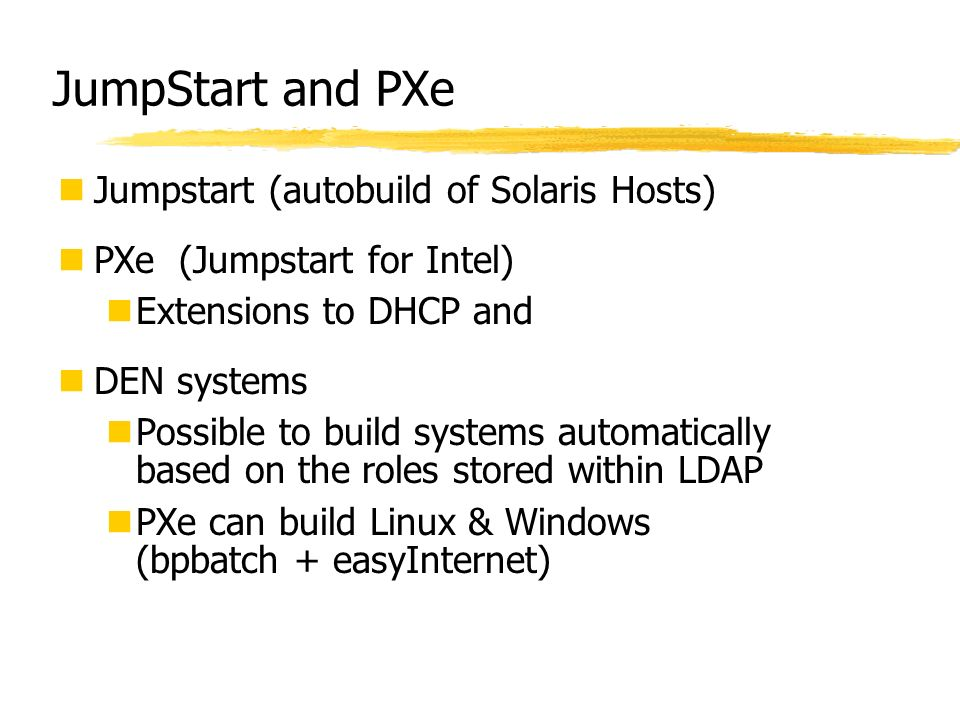 JumpStart and PXe Jumpstart (autobuild of Solaris Hosts)
