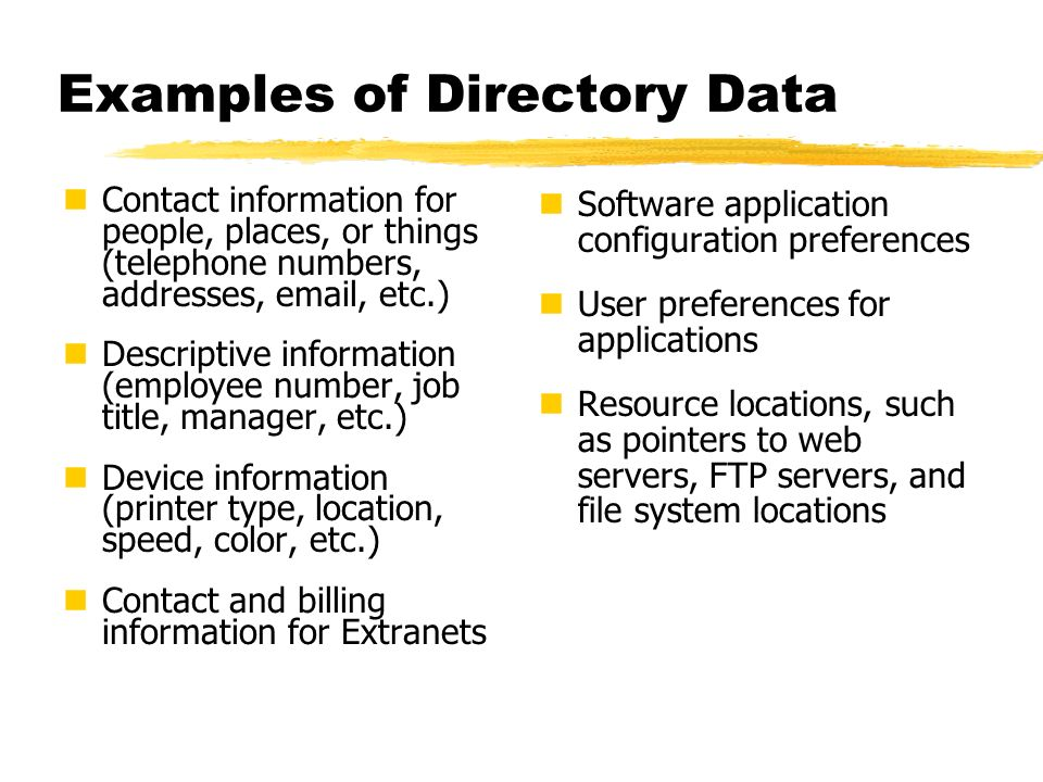 Examples of Directory Data