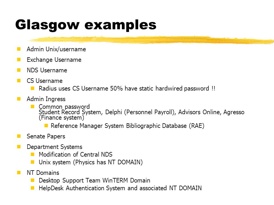 Glasgow examples Admin Unix/username Exchange Username NDS Username