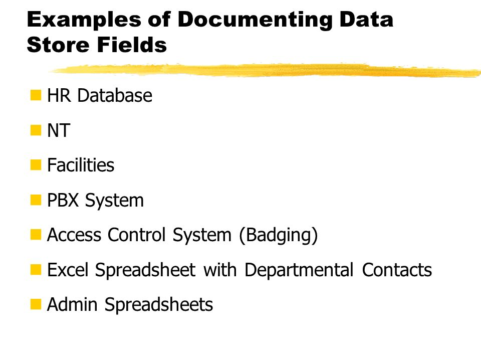 Examples of Documenting Data Store Fields