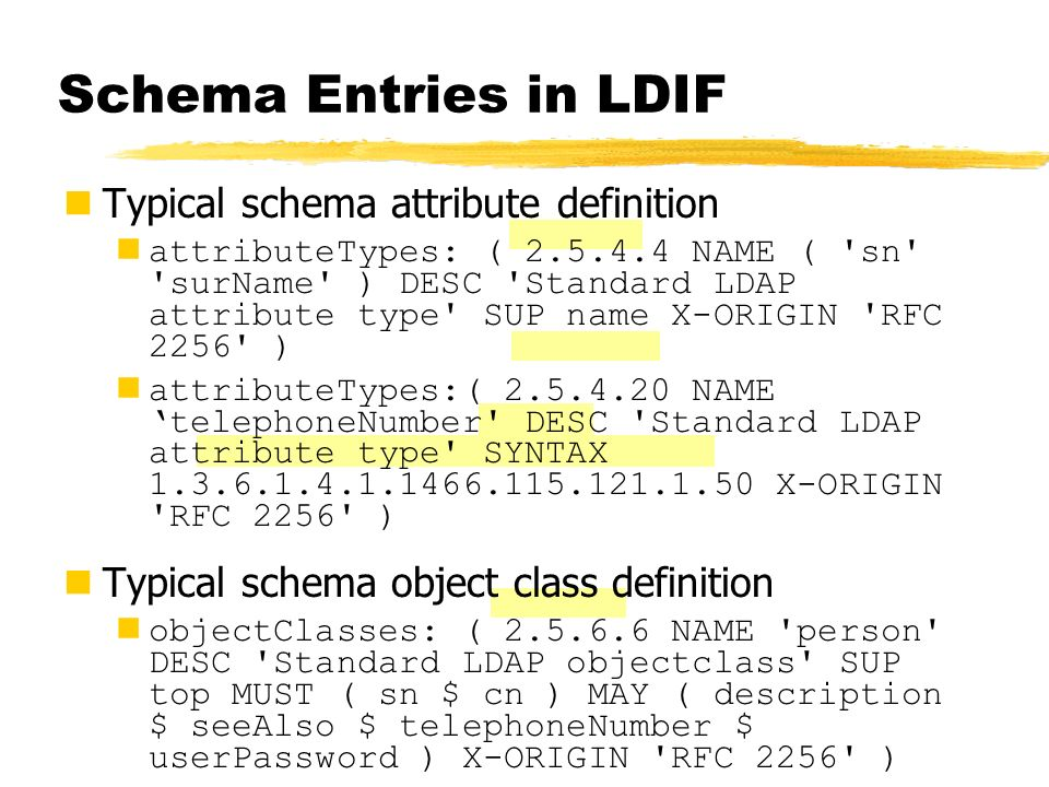 Schema Entries in LDIF Typical schema attribute definition