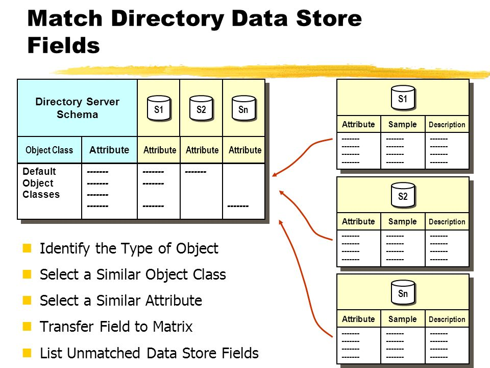 Match Directory Data Store Fields