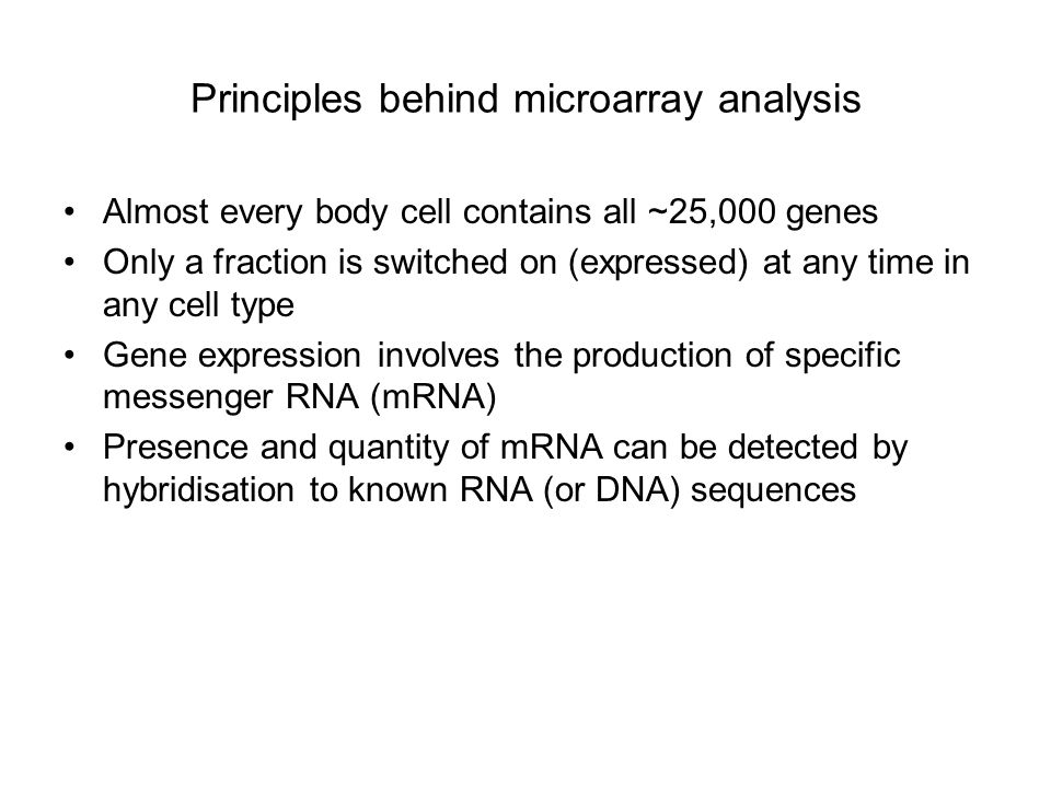 Principles behind microarray analysis
