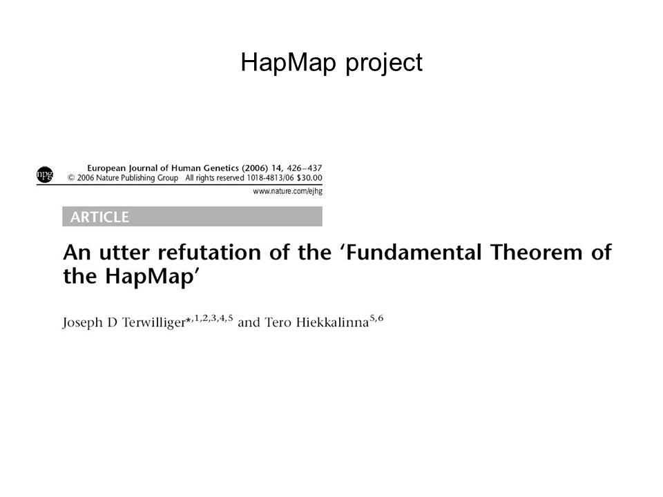 HapMap project HGP: 1st step in understanding stuff