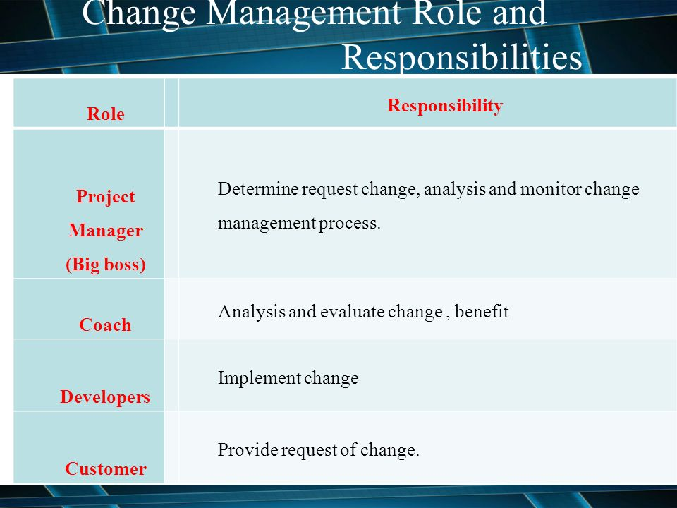 Analyse and evaluate your roles responsibilities