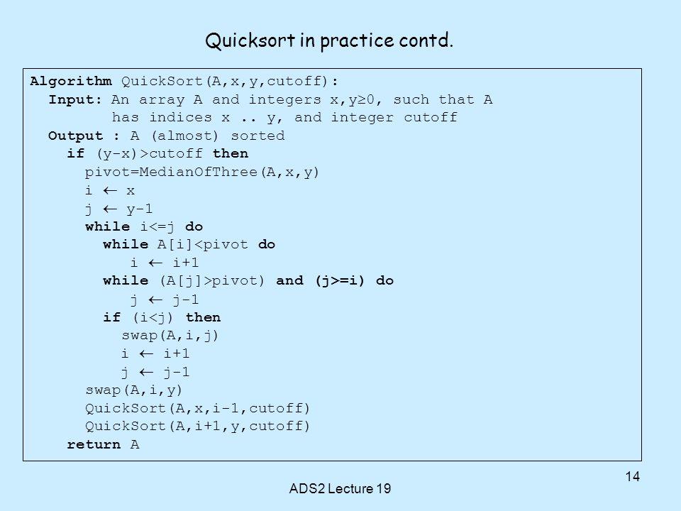 Quicksort in practice contd.