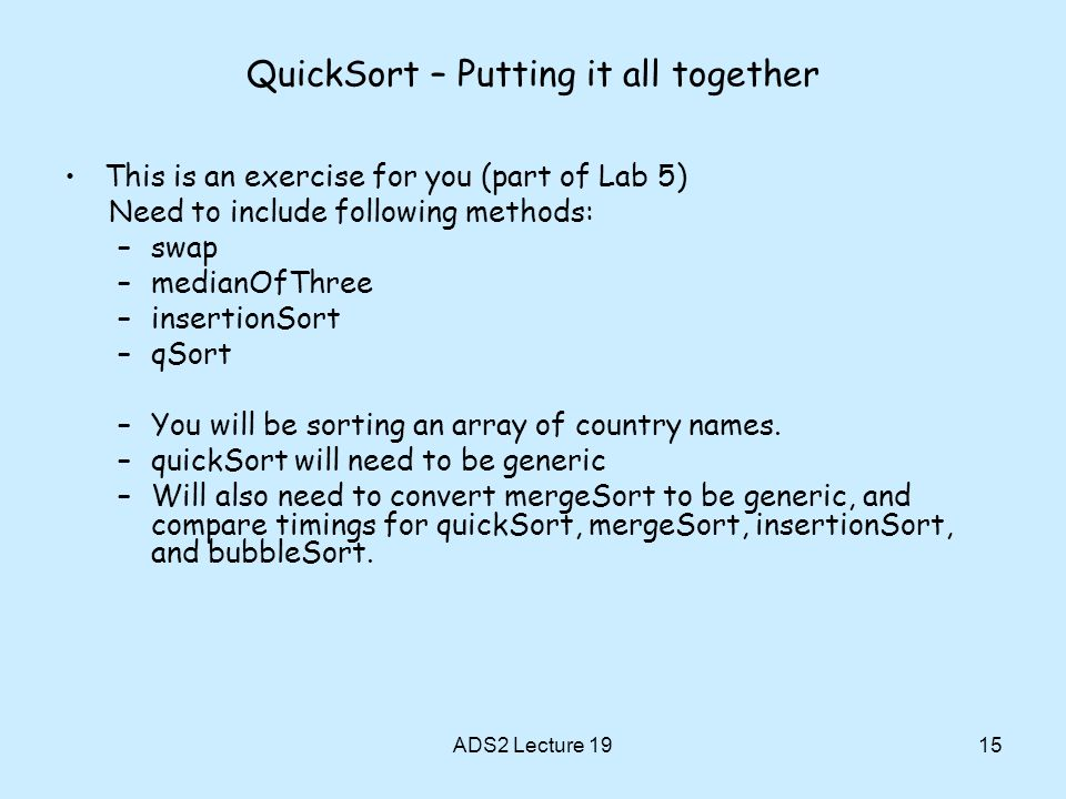 QuickSort – Putting it all together