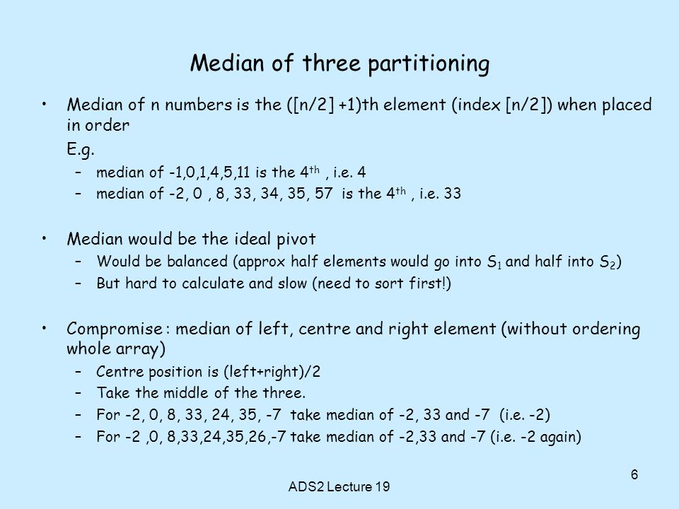 Chapter 9 continued quicksort ppt video online download 6 median of three partitioning ccuart Images
