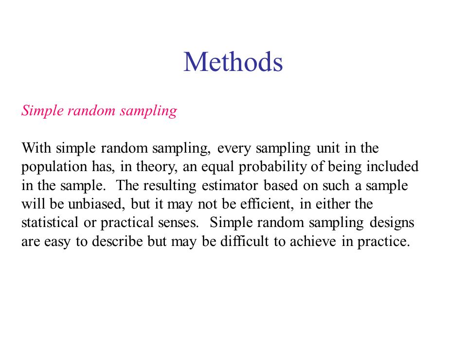 Methods Simple random sampling