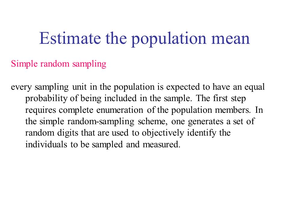 Estimate the population mean