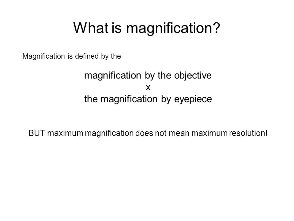 What is magnification magnification by the objective x