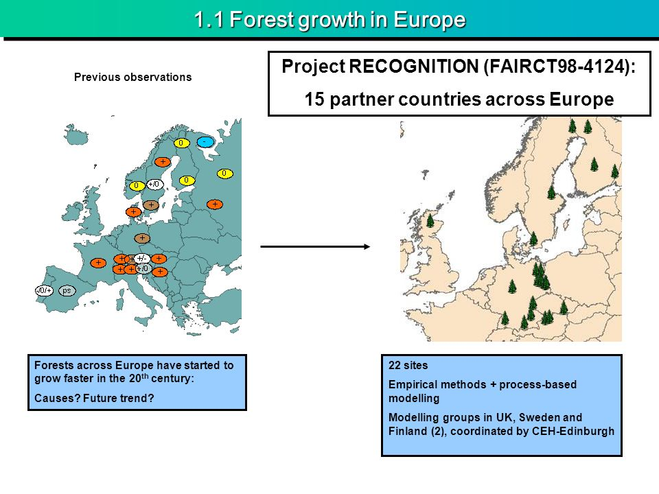 1.1 Forest growth in Europe