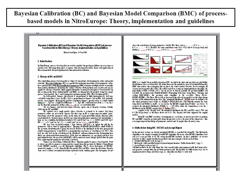 Bayesian Calibration (BC) and Bayesian Model Comparison (BMC) of process-based models in NitroEurope: Theory, implementation and guidelines
