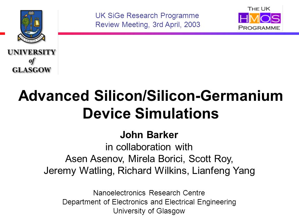 Advanced Silicon/Silicon-Germanium