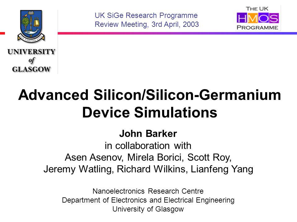 Advanced Silicon/Silicon-Germanium