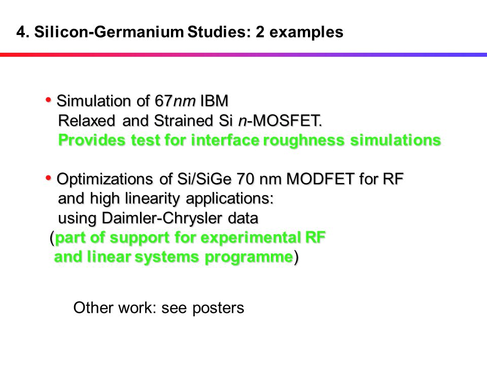 4. Silicon-Germanium Studies: 2 examples
