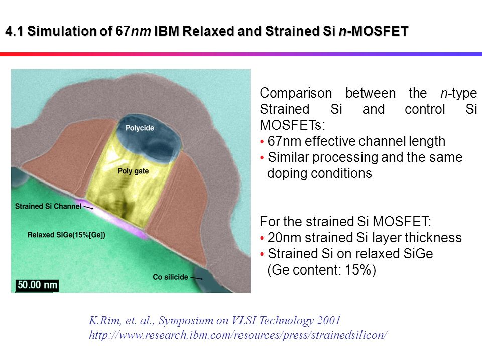 4.1 Simulation of 67nm IBM Relaxed and Strained Si n-MOSFET