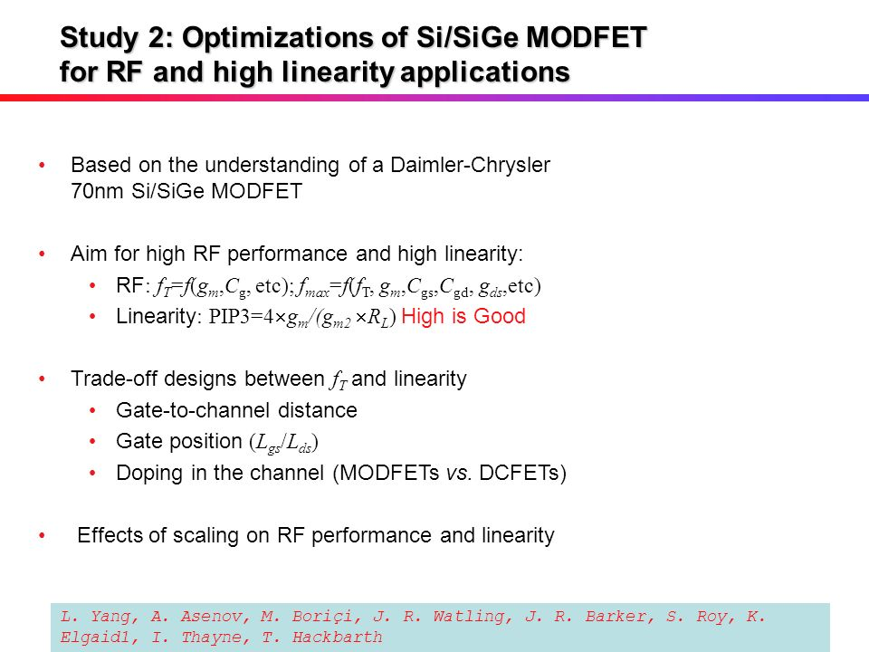 Study 2: Optimizations of Si/SiGe MODFET for RF and high linearity applications