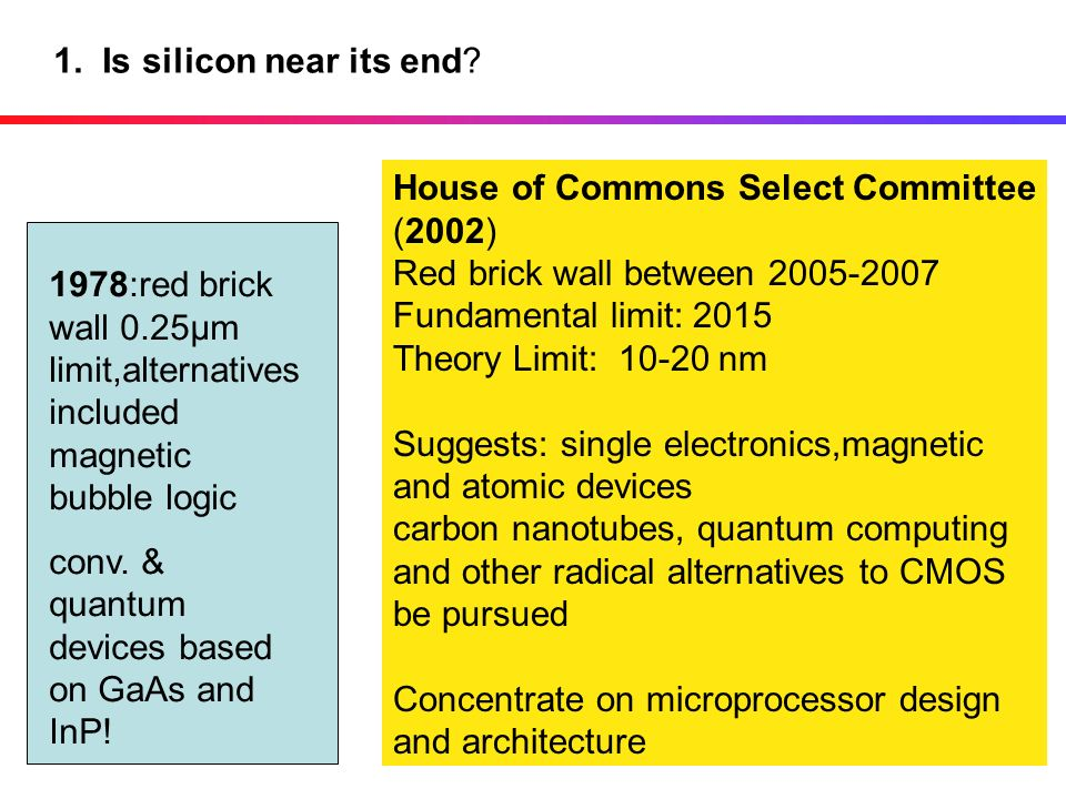 1. Is silicon near its end House of Commons Select Committee. (2002) Red brick wall between 2005-2007.