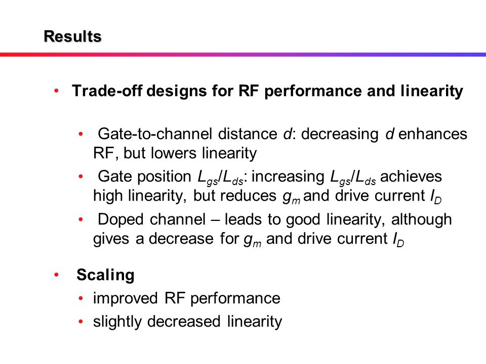 Results Trade-off designs for RF performance and linearity. Gate-to-channel distance d: decreasing d enhances RF, but lowers linearity.