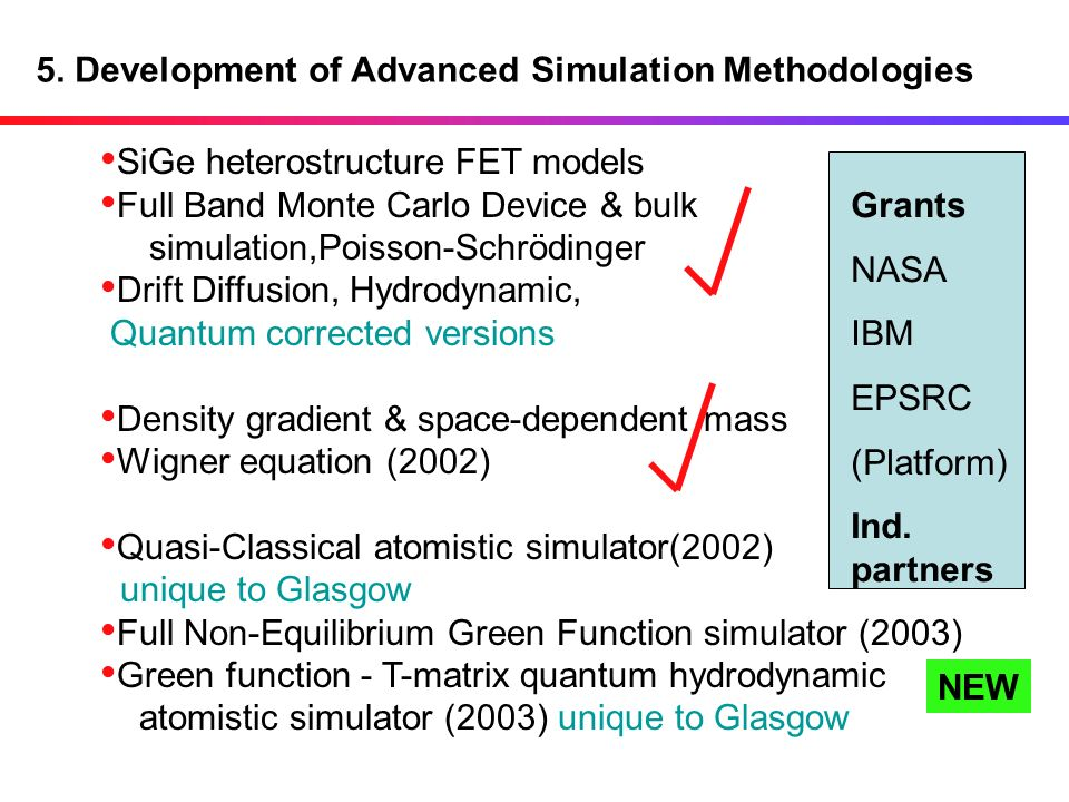 5. Development of Advanced Simulation Methodologies