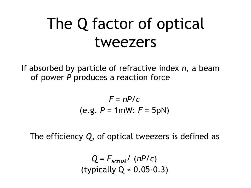 The Q factor of optical tweezers